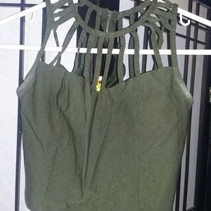 Women's green stretchy strap top